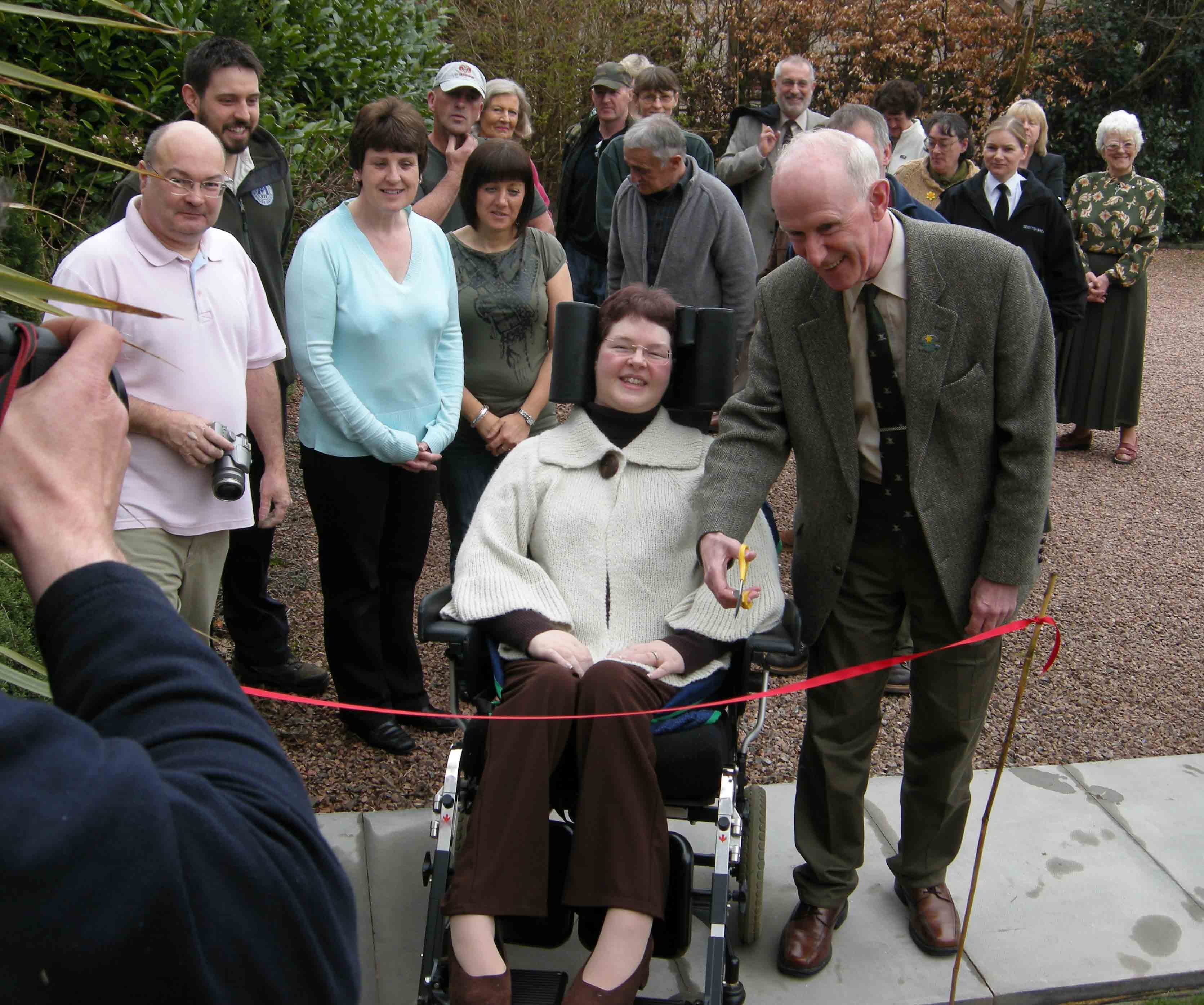 Cllr John Whytte opening all weather disabled path